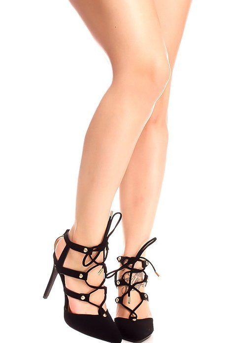 Lolli Couture SUEDE MULTI STRAP STUD ACCENTS LACE UP DESIGN