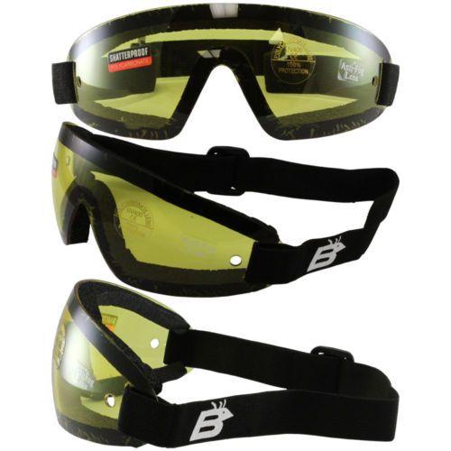 Snowboard Ski Moto Cross Yellow Lenses UV400 Black Polycarbonate Unisex Goggles