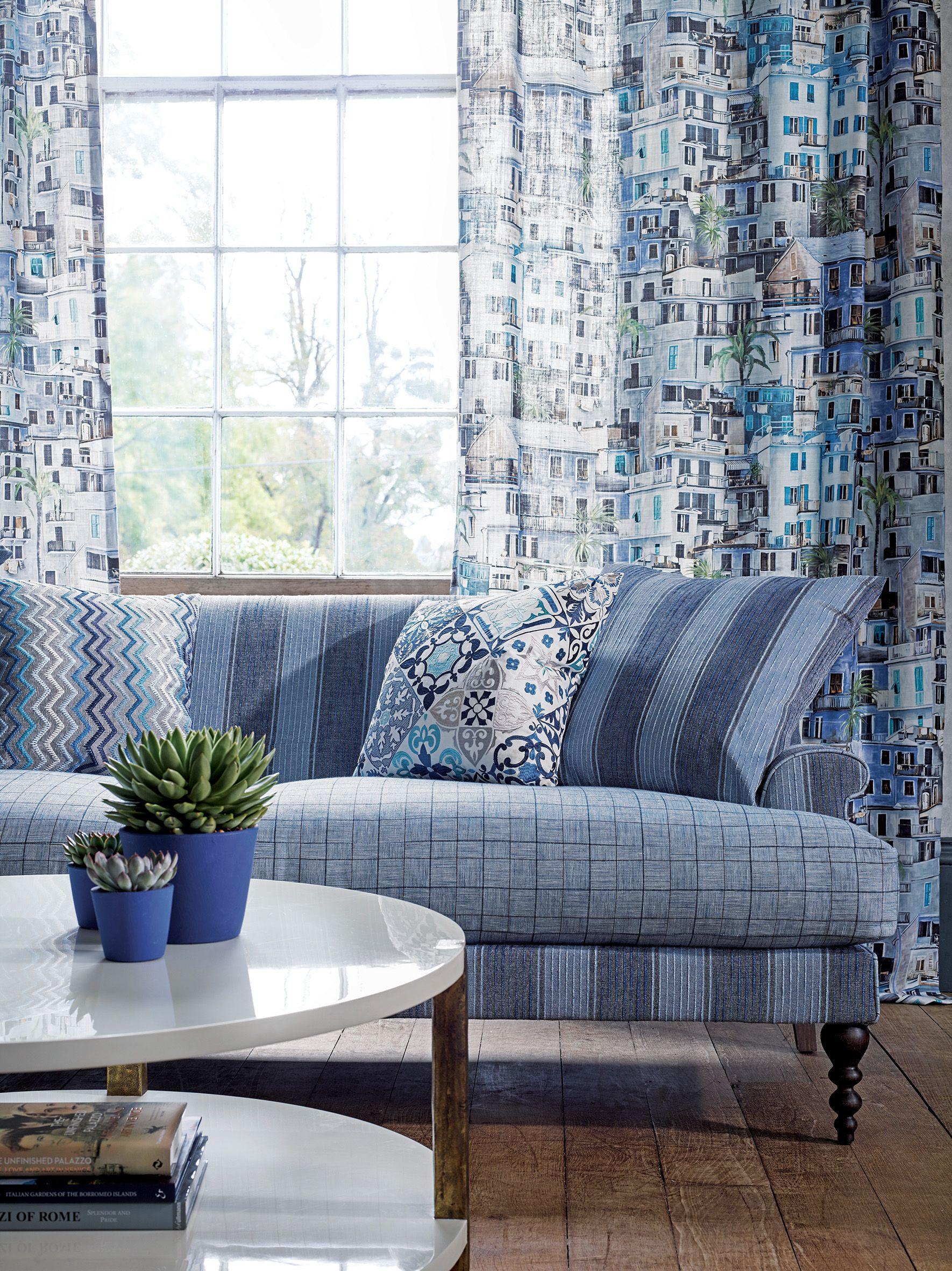 pinab interiors on trend  greek blue  living room