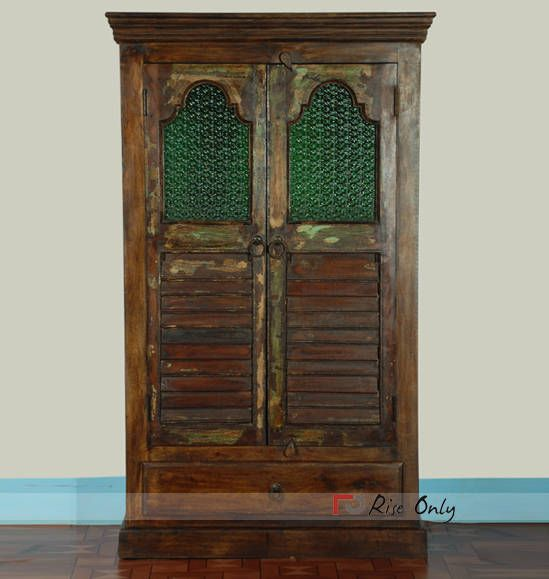 Wooden Old Door Reproduction Almirah Reproduction Wooden Wardrobe Ancient Indian Paintings Antique Reproduction Furniture Vintage Shutters