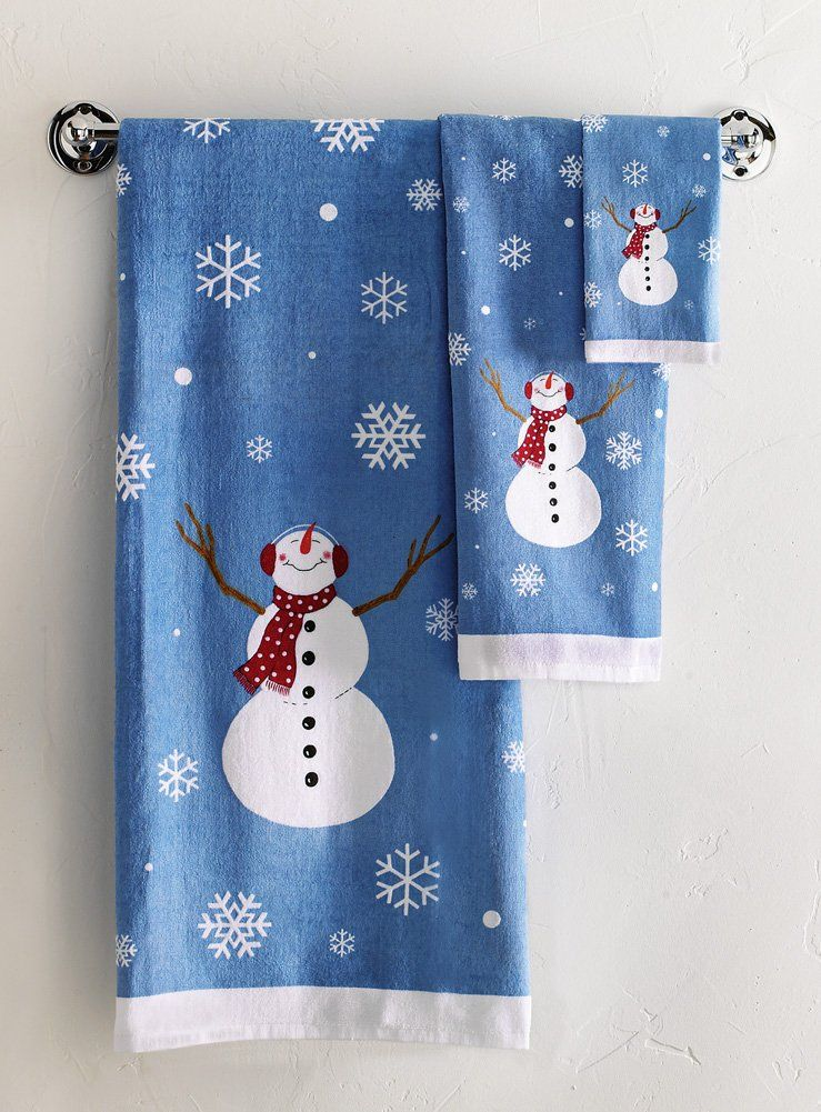amazoncom winter snowman bathroom towel set dish towels - Christmas Bathroom Decor Amazon