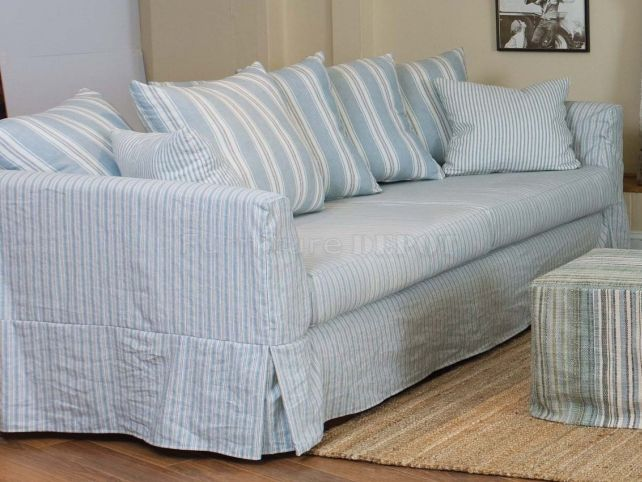 Summery Pale Blue Sofa Slipcover Simple Construction