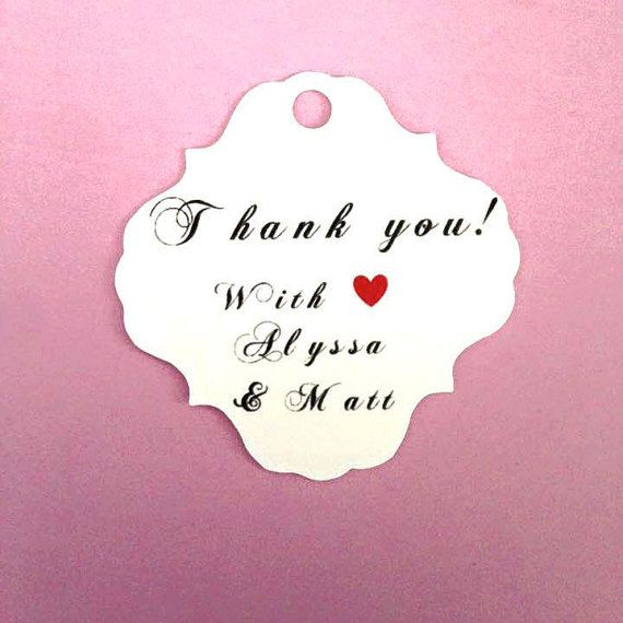 Thank You, Simple, Elegant Wedding Party Favors With