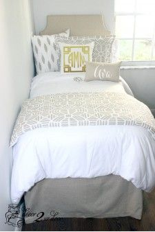 Gold Metallic Glitz Teen Girl Dorm Room Designer Bedding Set