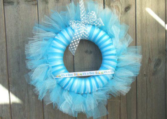 Baby Boy tutu Wreaths | BlueTulle Tutu Wreath Fabric Door Hanger Baby by TheWoollyKnitter