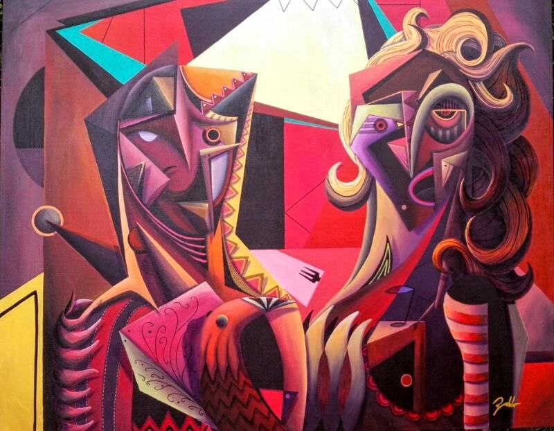 Artist : Pablo M. / Title : Pareja con aves / Dimensions : 120 x 150 cms / Price : MXN $36,000 / Status : Sold / Technique : Mixed on Canvas / Year : 2014