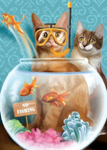 Funny Cat Birthday Card Tree Free Greetings No Fishing Funny