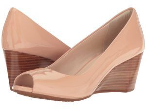 Cole Haan Sadie Open Toe Wedge 65mm (Nude Patent) Women's Wedge Shoes