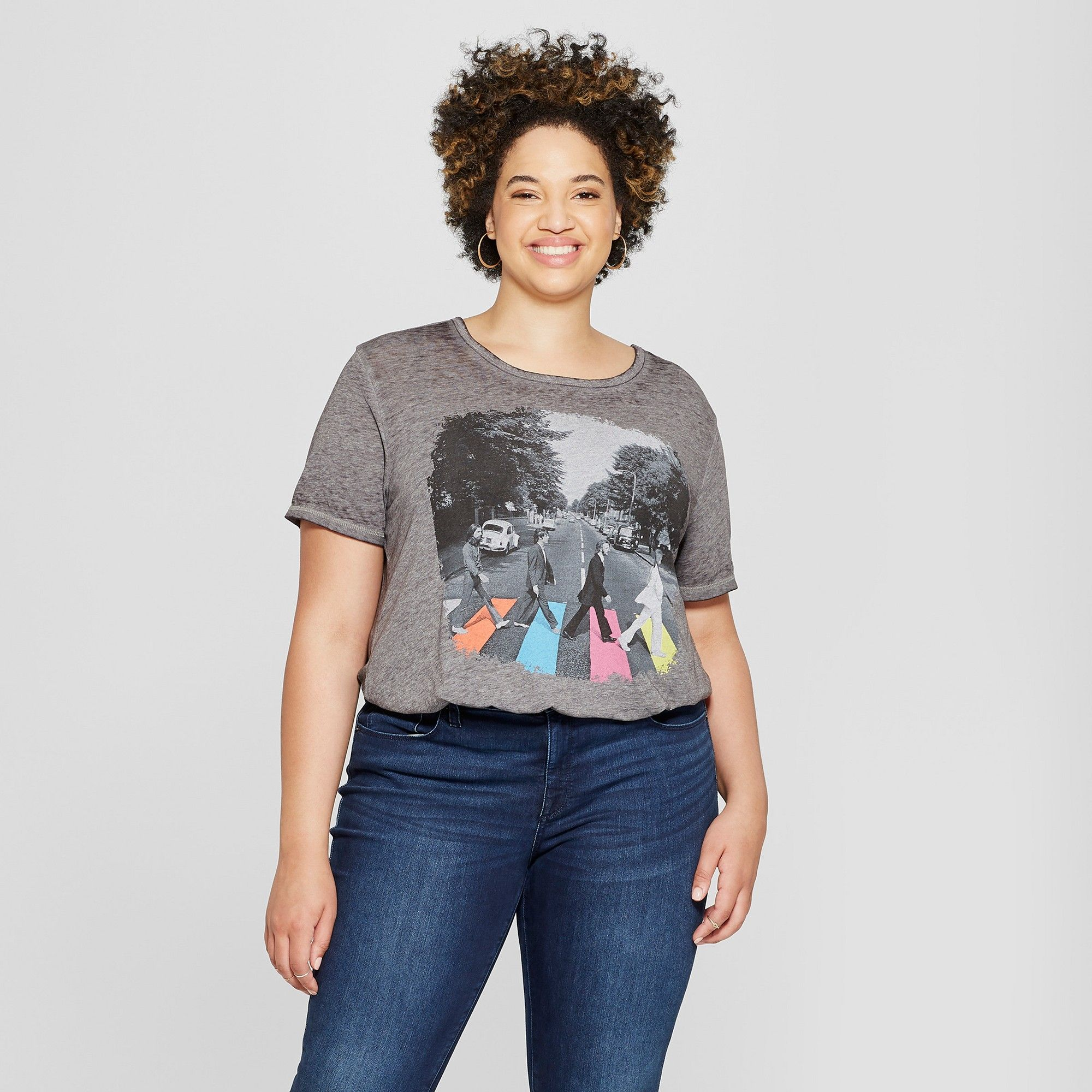 c5be2bd7658 Women s The Beatles Plus Size Abbey Road Short Sleeve Graphic T-Shirt ( Juniors ) Charcoal Gray 1X