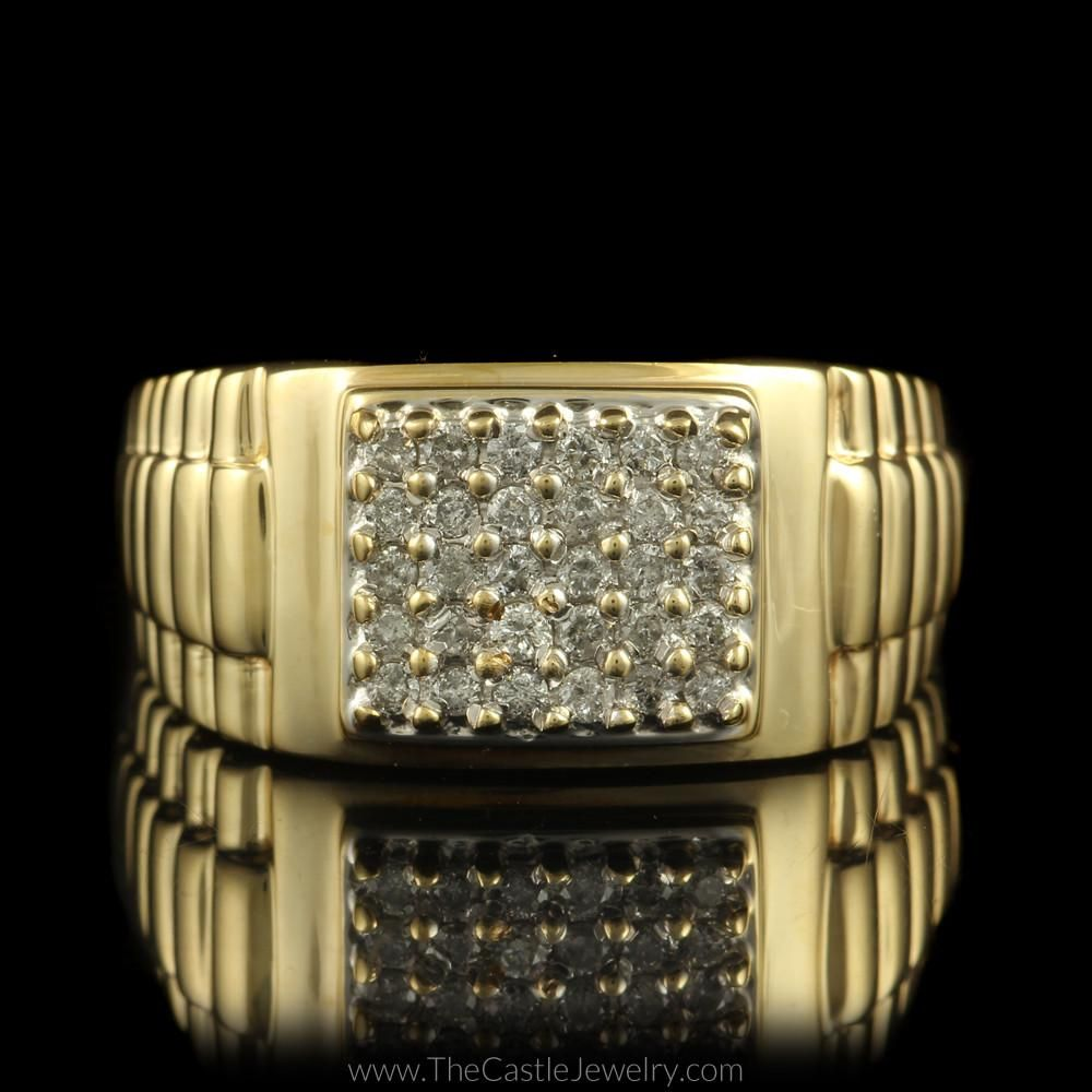 Square Shaped cttw Diamond Cluster Ring w Rolex Design Sides in
