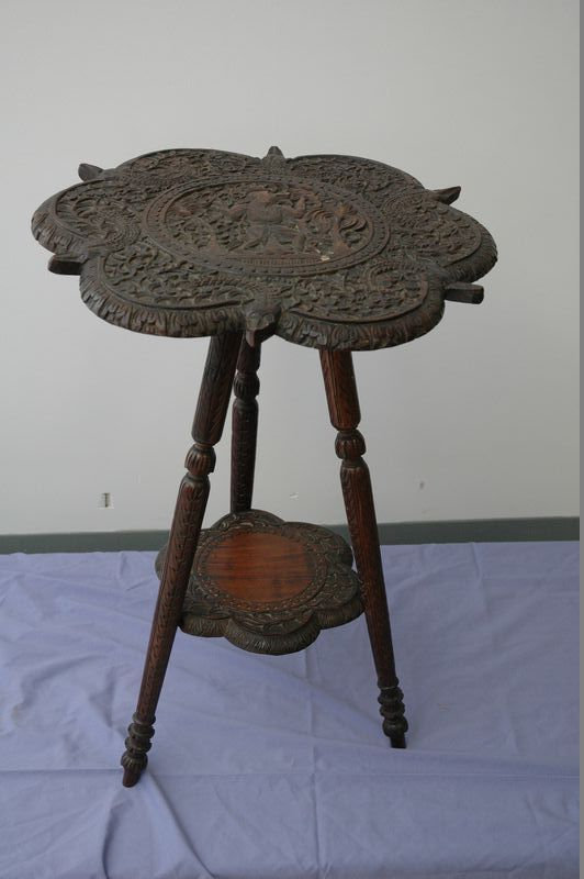 Antique 3 Leg Carved Pedestal Table