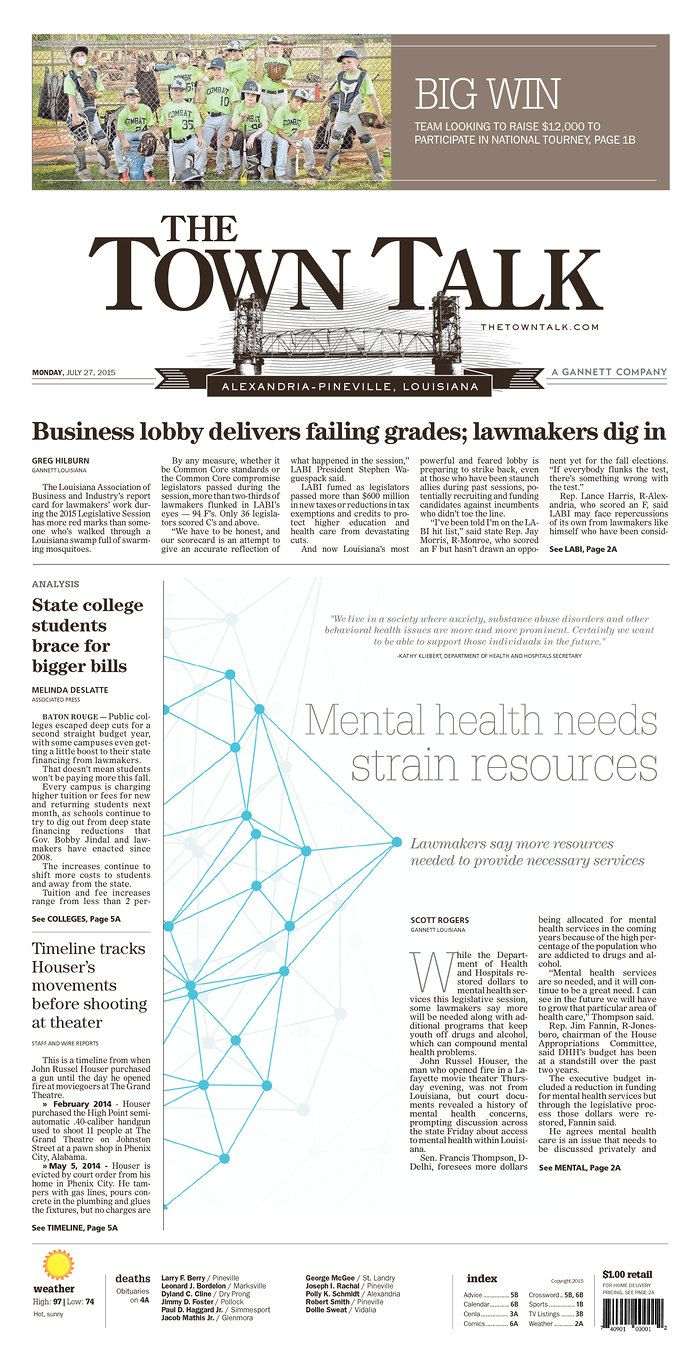 The Town Talk Today S Front Pages Newseum Newspaper Design Newseum State College
