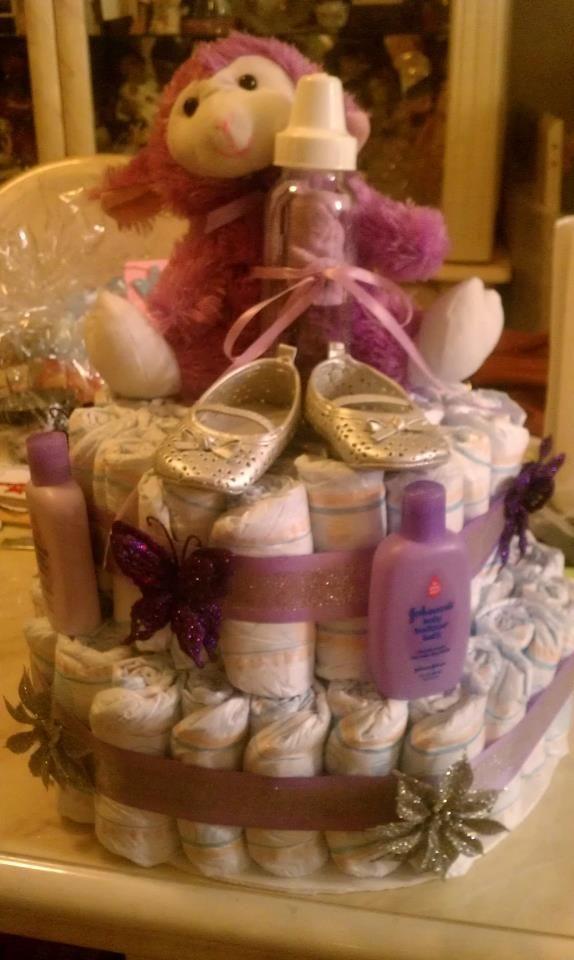 Lavender loving: Diaper cake for sell. 1 teddy bear, 1 pair of ...