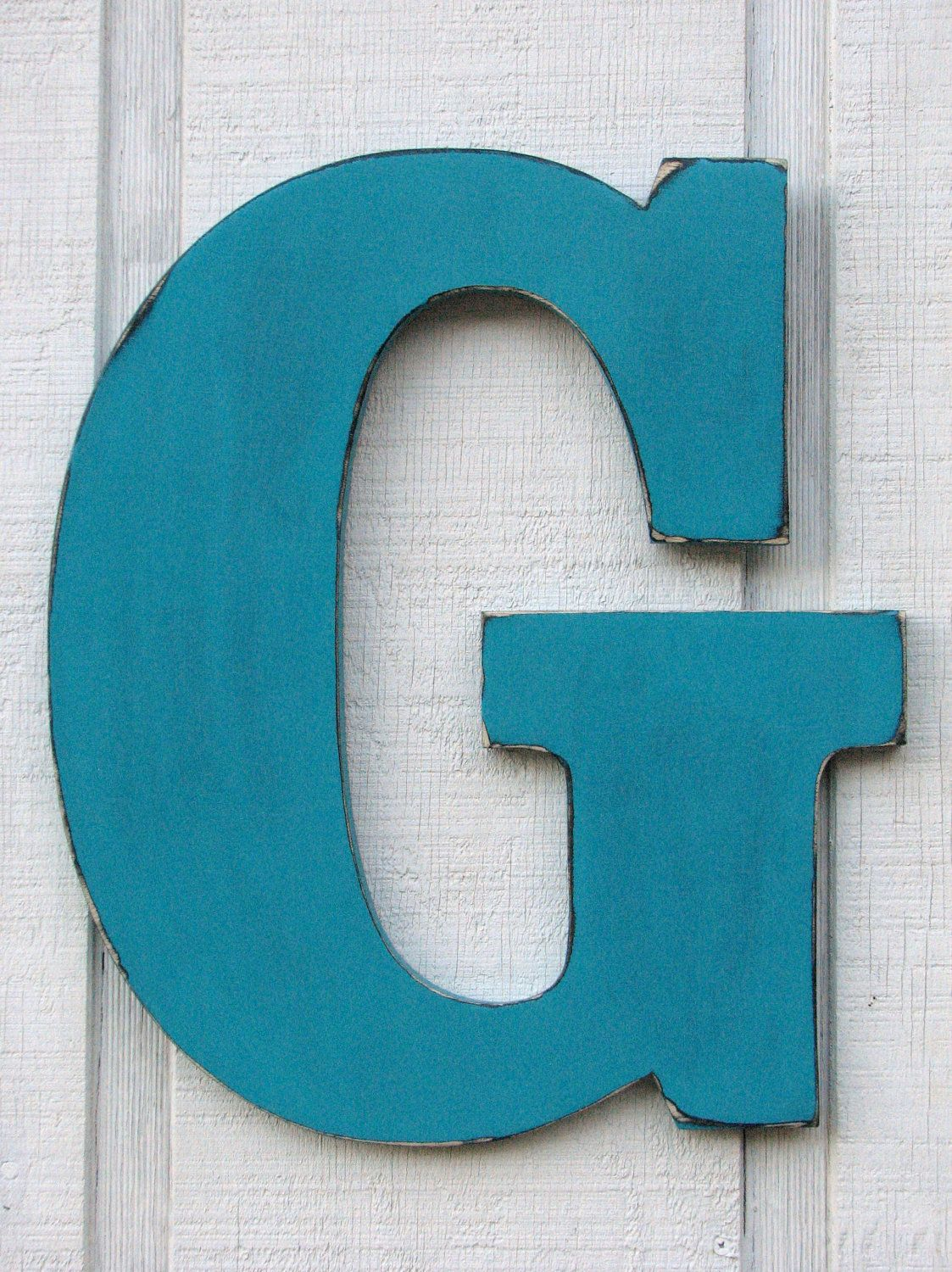 guestbook large wall letters rustic wooden letter g distressed in island green18 tall