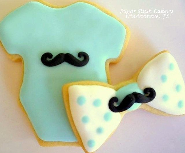 Baby boy mustache and bow tie cookies by SugarRushCakeryFL on Etsy