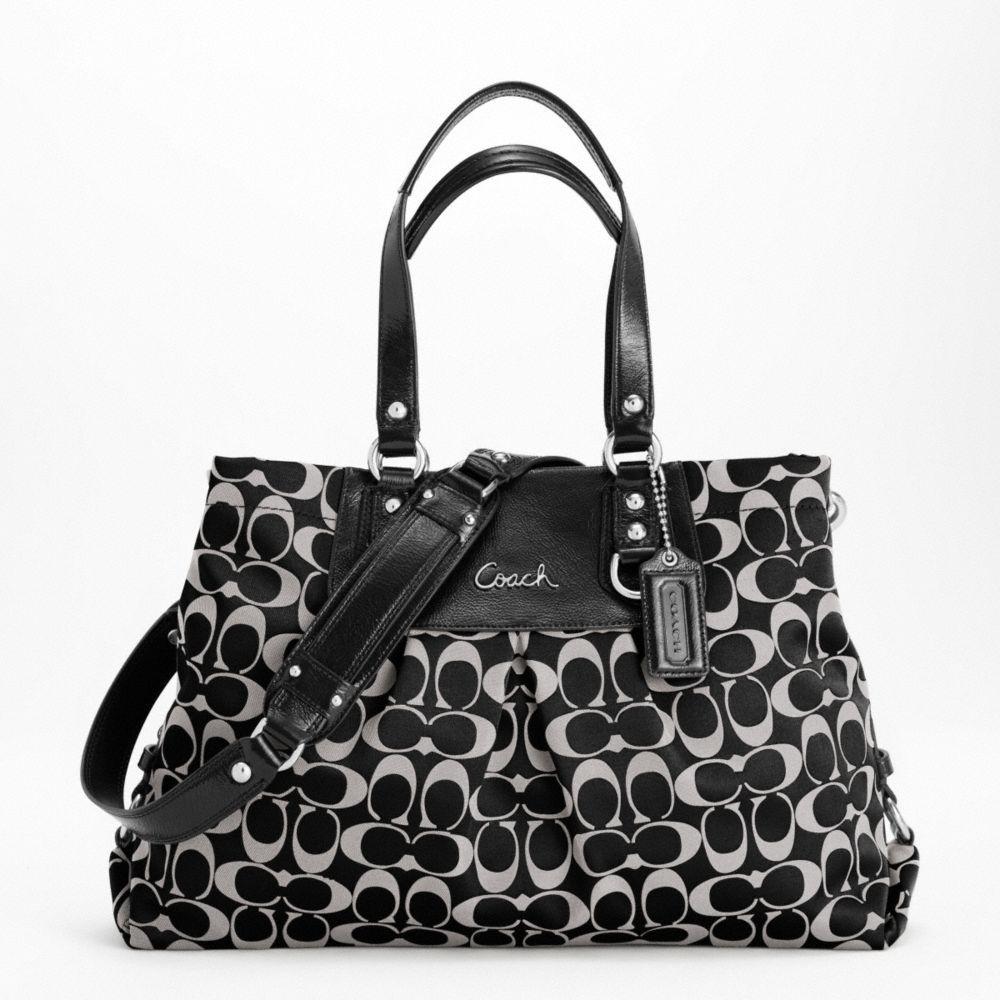 274.00 Coach Handbag Black Ashley Signature Sateen Carryall Shoulder Bag ( F15510) 7ac0a0916615e
