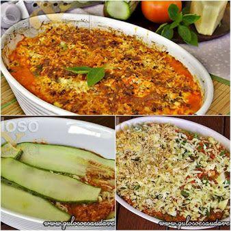 Dica de #jantar! A Lasanha de Abobrinha com Frango, é deliciosa, leve não tem massa e é crocante por ter uma deliciosa crosta de frango com queijo. #SemGluten #Receita aqui: http://www.gulosoesaudavel.com.br/2013/07/23/lasanha-abobrinha-frango/