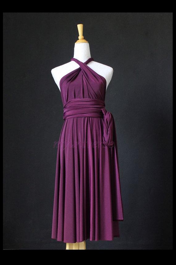 Bridesmaid Dress Infinity Dress Dark Purple Knee Length Wrap ...