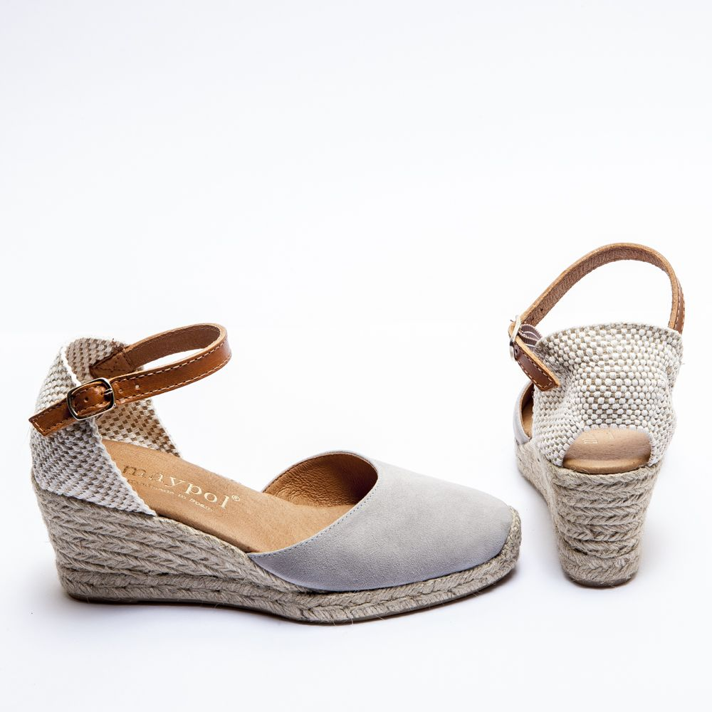 c58053f2aae7 Grey Closed Toe Espadrilles - Mid Wedge