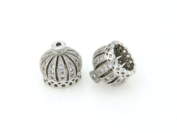 Silber Krone Quaste Cap, CZ-Micro Pave finden, Zirkonia Pave auf Kupfer Kappe, 10x10mm, Pkg von 1 Stk., F0MU.SI06.P01