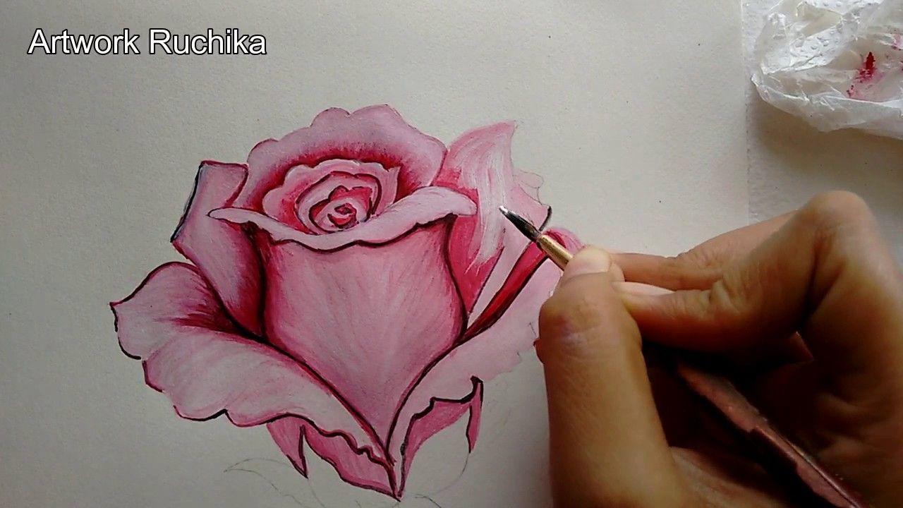 Boyanmış çiçek Resmi Baştan Sona Nasıl Yapılır şahane Bir Gül