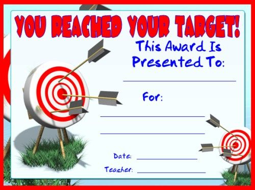 Awards for all subjects awards and certificates that all teachers you reached your target award you can find this printable award and many other award certificatesgirl scout cookiesschool yadclub Gallery