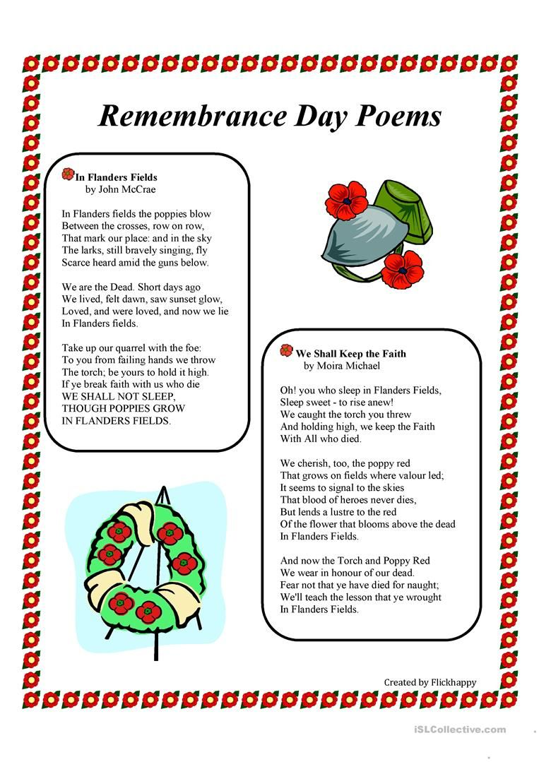 Free Printable Veterans Day Activities Remembrance Day Poems