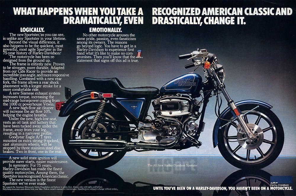 1979 Ad Sportster Scrambler Harley Davidson Roadster Iron 883 Street Bikes Dirt