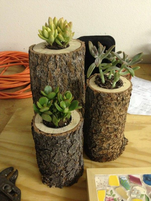 Diy Projects Tree Trunk Decoration In The Form Of Flower Pots Diy Flower Pots House Plant Pots Flower Pots