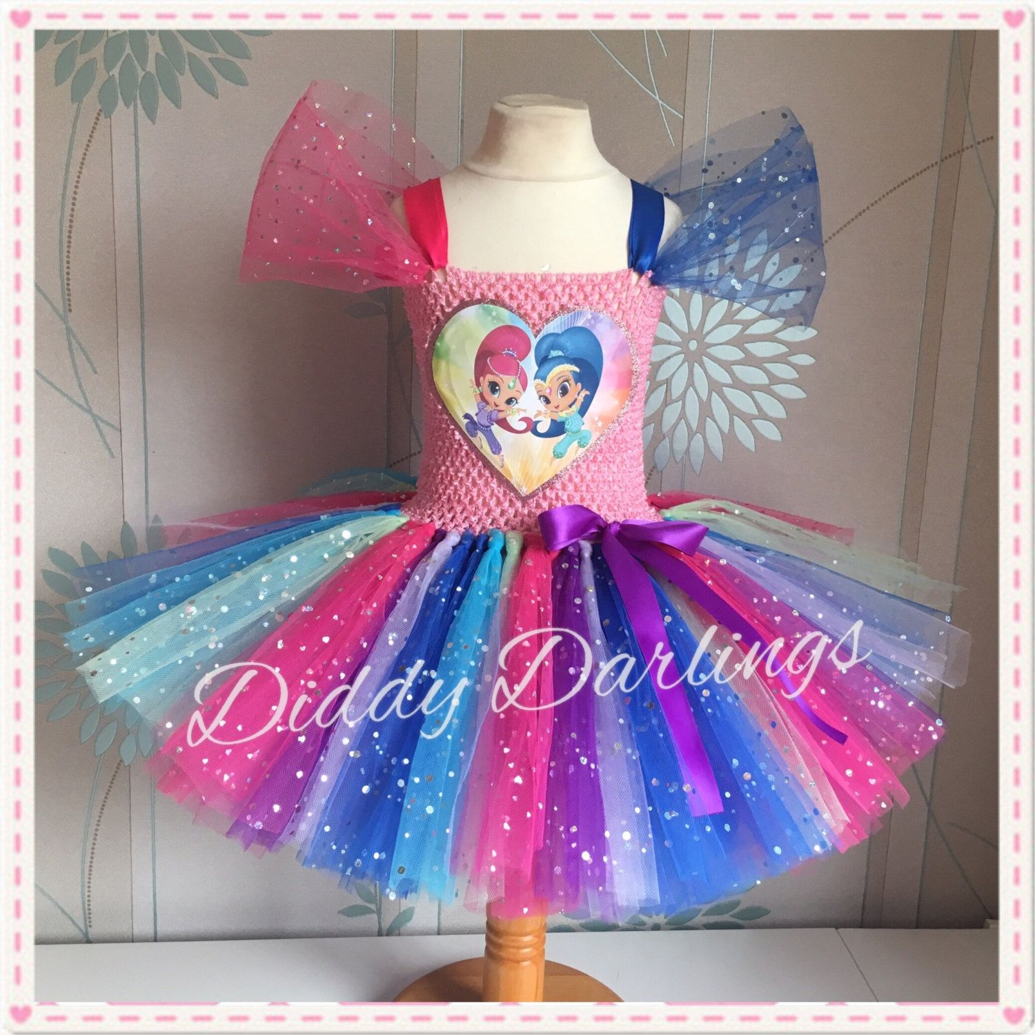 Shopkins *With NAME* 4th Fourth 4 Birthday Pink Tutu Dress Fast Shipping