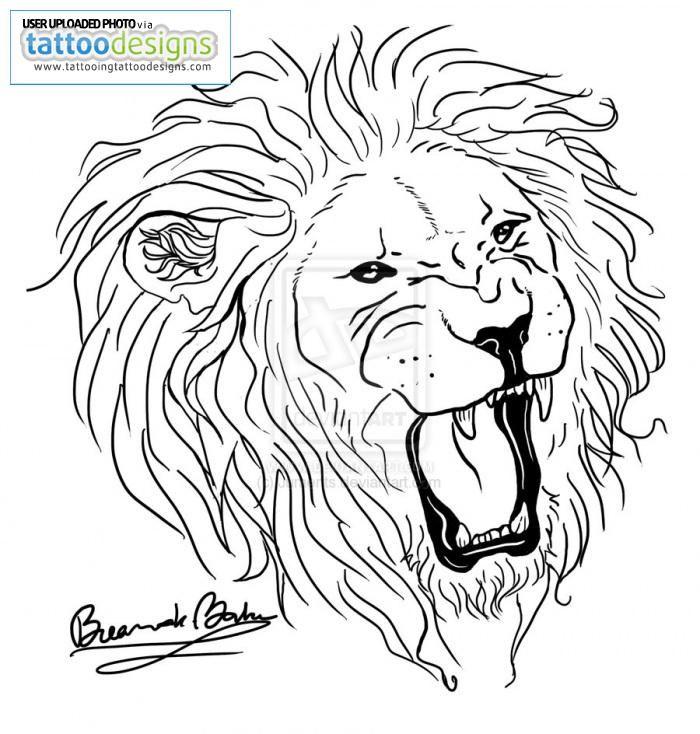 Lion Head Outline Tattoo – Outline king lion tattoo » tattoo ideas.