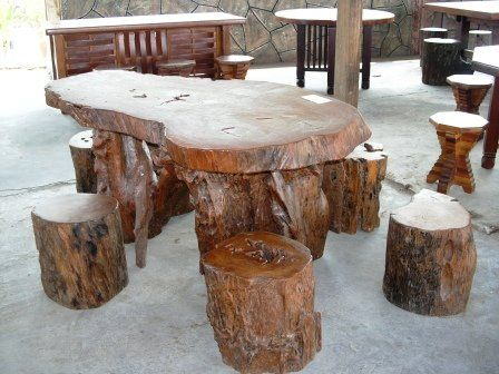 Attractive Log Garden Furniture   Some Examples Of Timber Log Seats And Tables From  Very Simple Log Photo