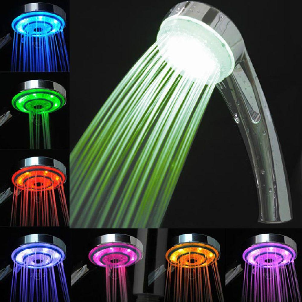 LED Rain Bathroom Shower Head Hand Shower With Romantic Changing ...