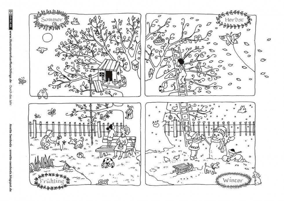 Durch Das Jahr Jahreszeiten Baum Swoboda Jahreszeiten Arbeitsblatt Jahreszeiten Kunstunterricht Grundschule