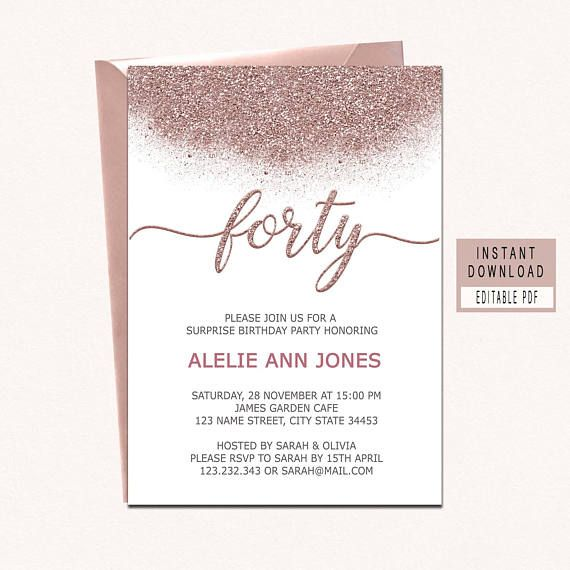 Rose Gold Forty And Fabulous Invitation Birthday Invites 40th Invitations For Women