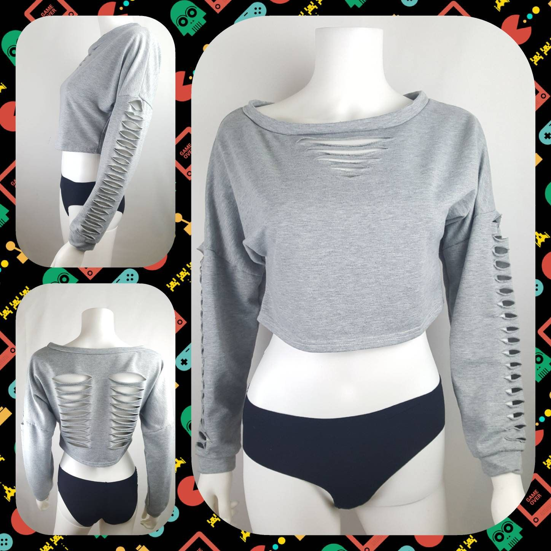 Gray Us Sz M Cropped Diy Cut Shredded Long Sleeve Sweatshirt Cut Up