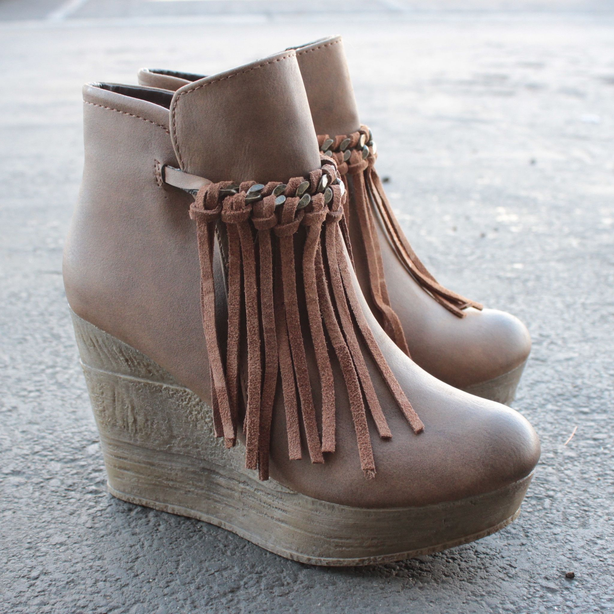 8b542b75b0e sbicca vintage collection zepp wedge fringe ankle bootie (more colors)