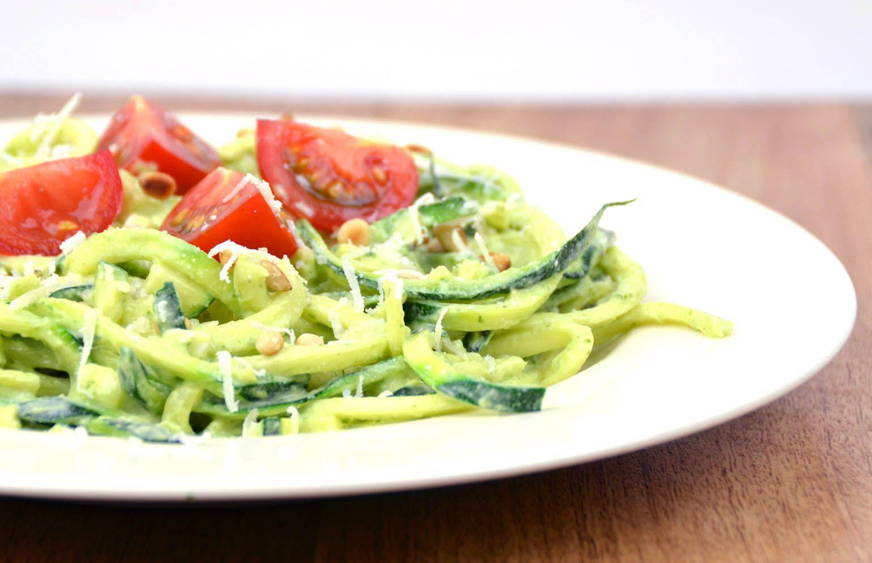 Recept courgetti pesto light