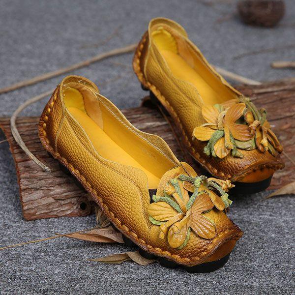 0af47318b8ef23 Genuine Leather Handmade Flower Loafers Soft Flat Casual Shoes
