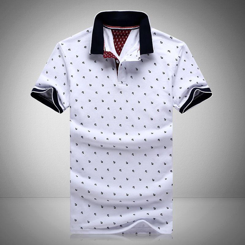 2aa6827ebf Nova marca polos mens impresso polo camisas 100% algodão curta manga camisas  polo estande casuais colarinho masculino camisa polo 4xl EDA234 em Polo de  Dos ...