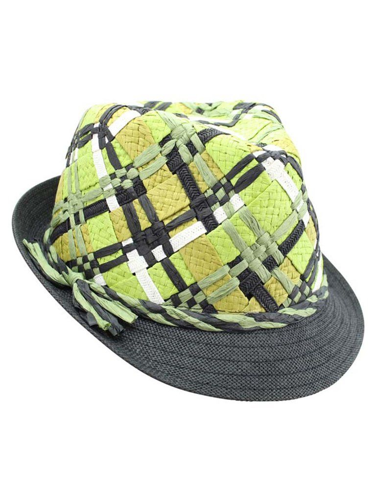 PLAID WOVEN FEDORA HAT FOR WOMEN