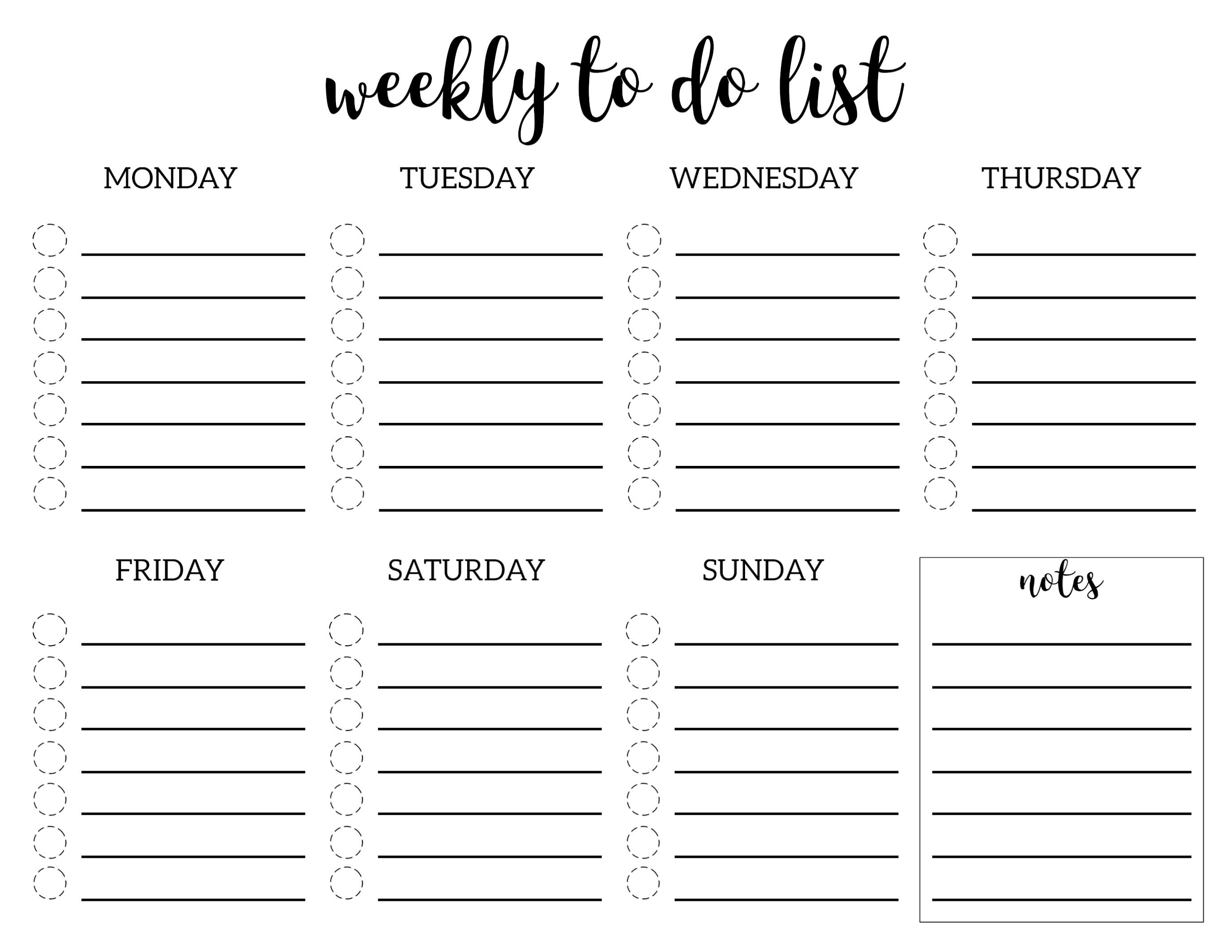 Weekly To Do List Printable Checklist Template To Do Lists