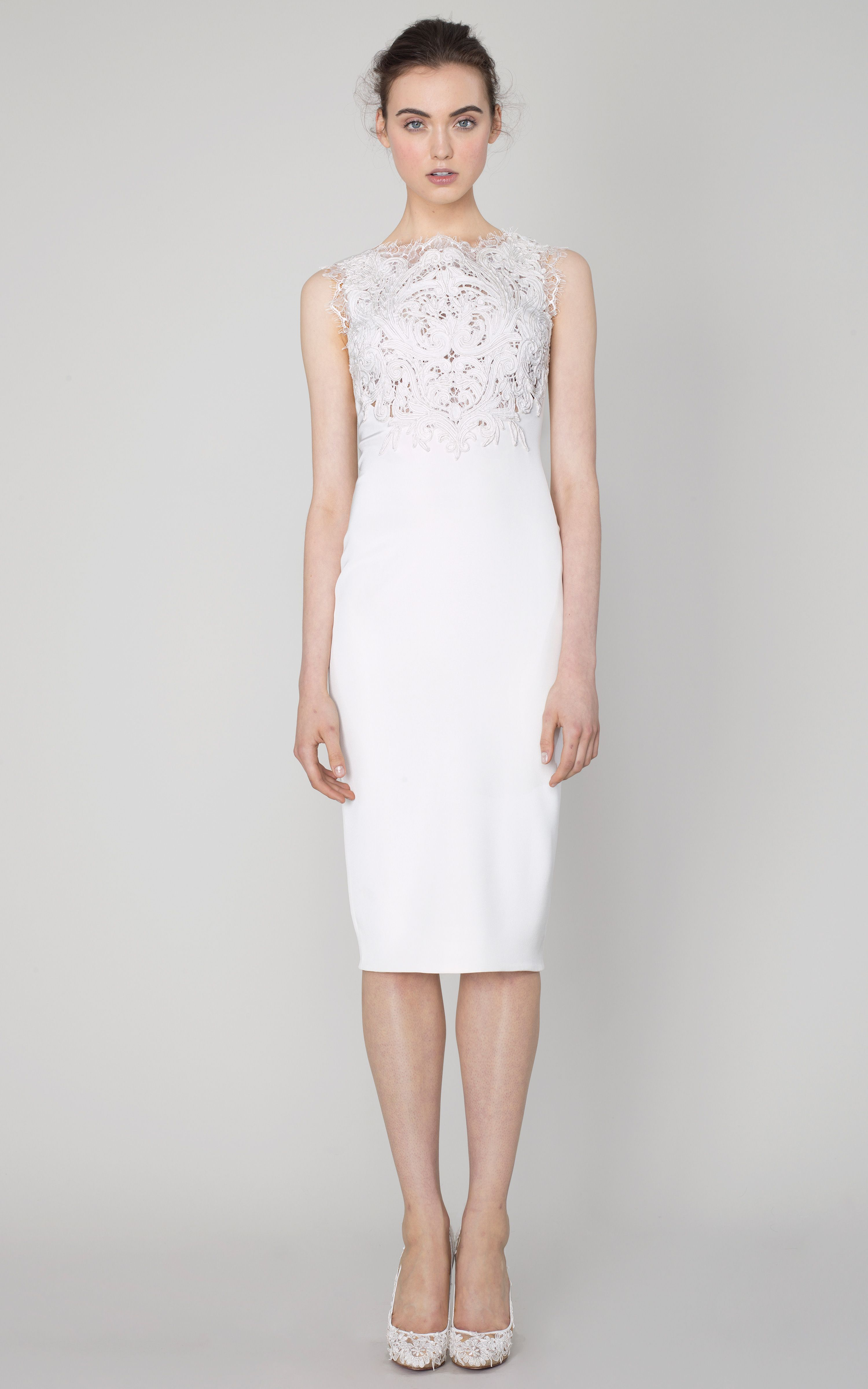 Marchesa Women S White Silk Crepe Sheath Dress With Corded Embroidery Starting At 4305 Similar Products Also Available Now On