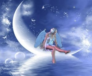 ANGEL OF THE MOON, ANGEL, BLUE, BUTTERFLIES, FIREFLIES, MOON, SKY, STARS, WATER, WHITE