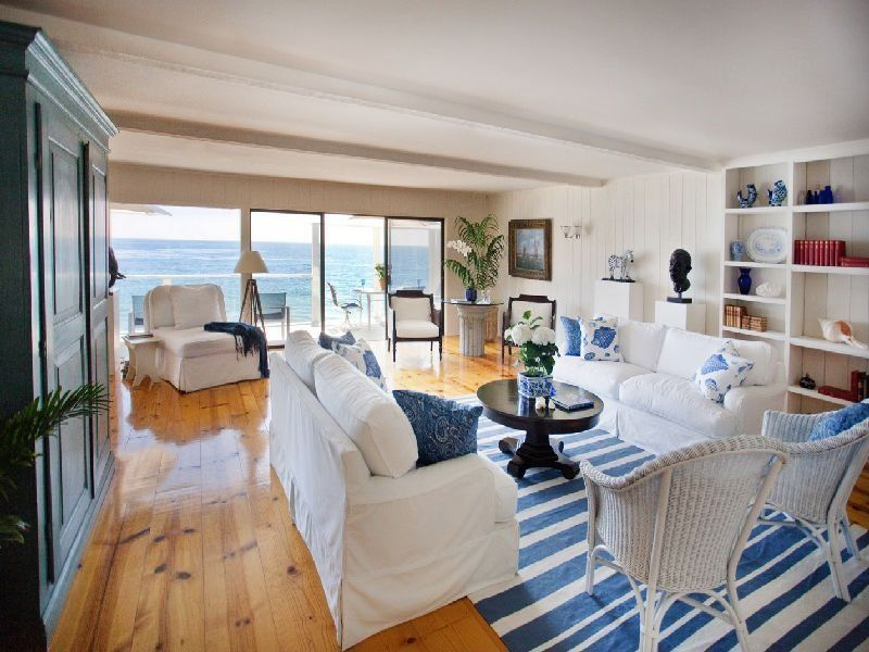 Eclectic Living Room with Balcony, Leanne Fabric Slipcover Loveseat, Beach House 100% Cotton Flatweave Dhurry Rug