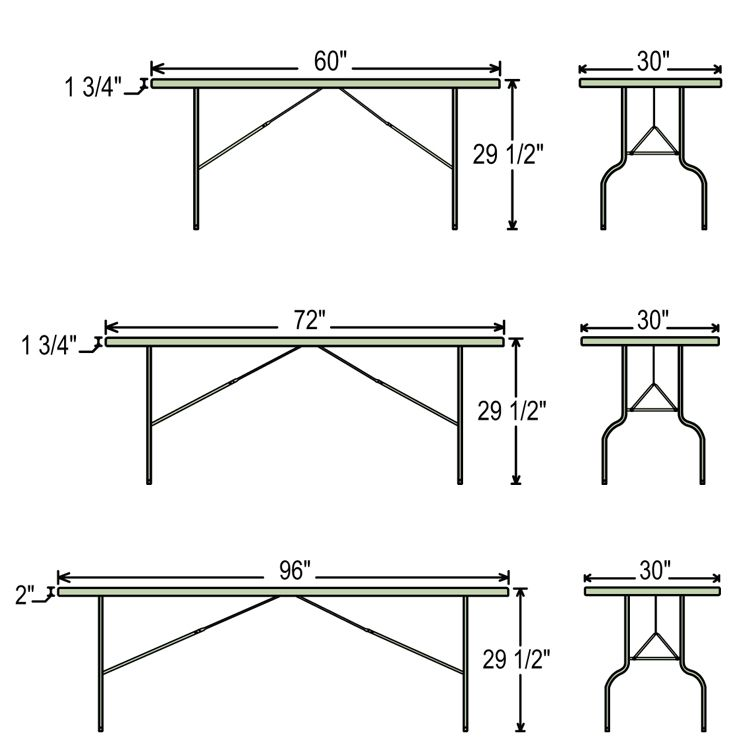 Folding Table Dimensions banquet Table Parties Events