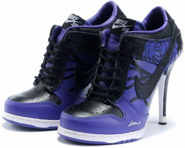 Womens Black and Purple Nike High Heels Dunk SB Low