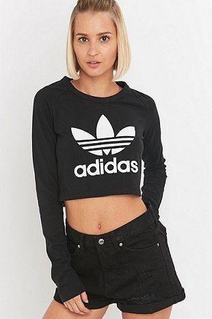 23ab9ebe7242 adidas Originals - Haut court à manches longues noir