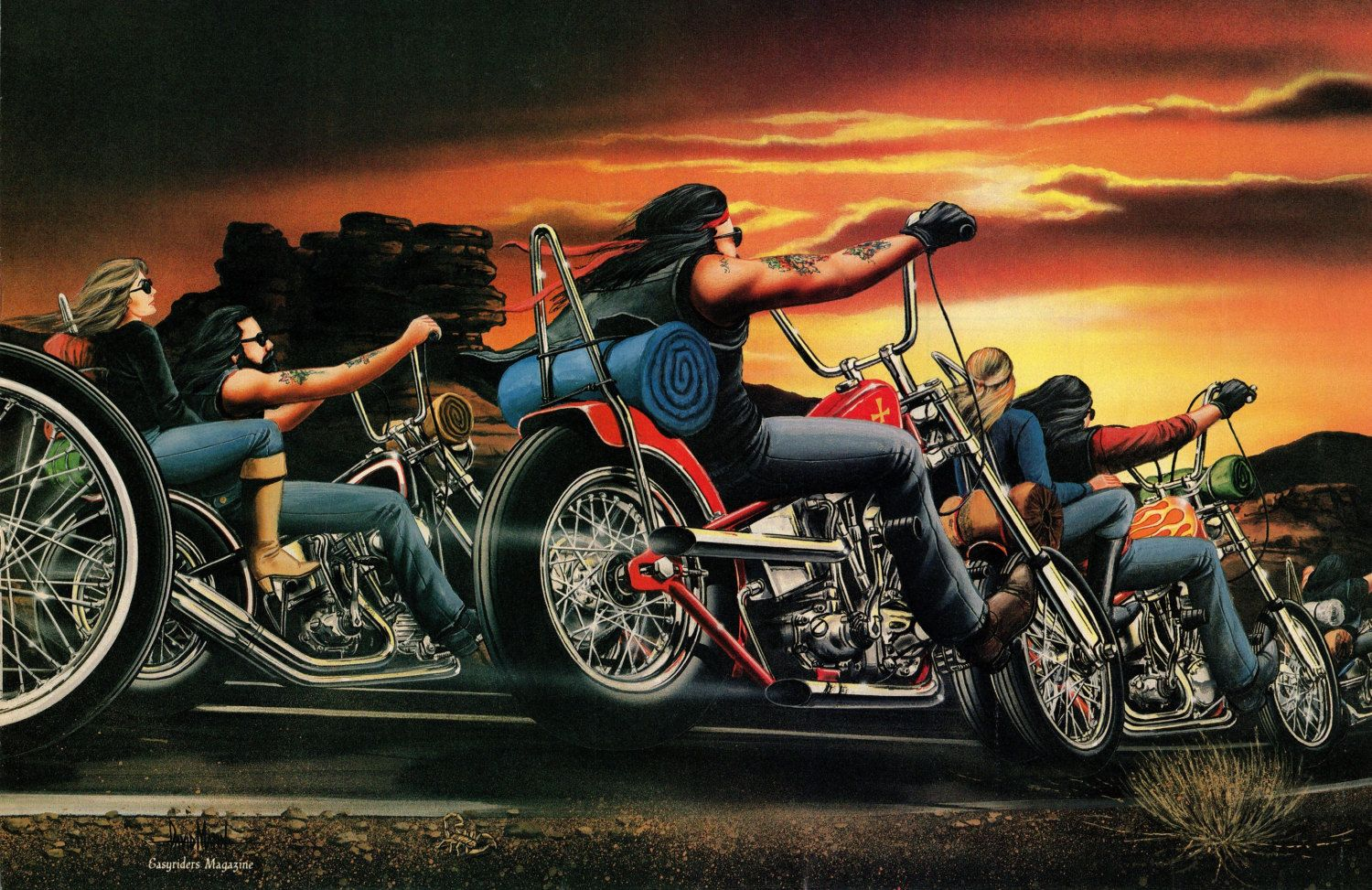 david mann moto poster art easyriders coucher de par. Black Bedroom Furniture Sets. Home Design Ideas
