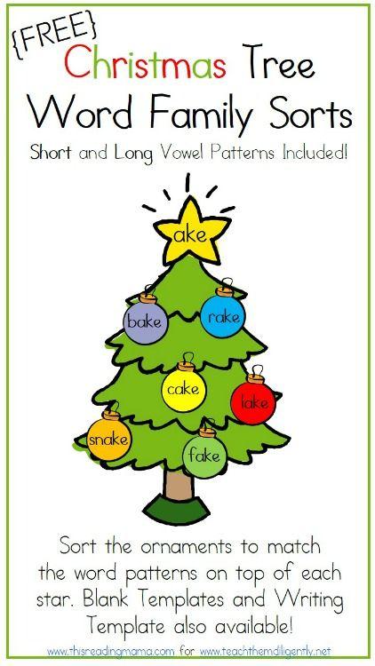 Christmas Tree Word Family Sorts Word Family Sort Word Families Christmas Kindergarten